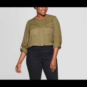 Ava&Viv Utility Pocket long sleeve shirt